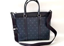 NEW COACH men Diamond Pattern work Tote Briefcase Business Crossbody bag Navy