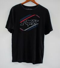 FOX RACING MENS LOGO T SHIRT BLACK RED BLUE Regular Fit 100% Cotton Size L