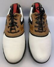 FootJoy Men 7 M Fj Contour Series White Saddle Brown Leather Golf Shoes 54117