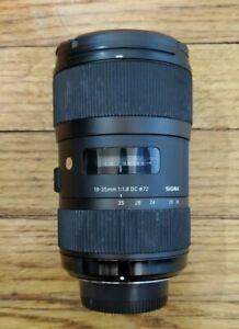 Sigma 210-306 18-35mm f/1.8 HSM DC Lens for Nikon F Mount. NO LENS HOOD.
