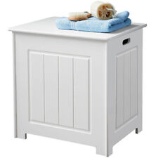 White Wood Deluxe Laundry Storage Bathroom Furniture Unit 51CM X 35 X 51CM