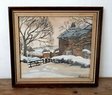 Vintage Mid Century Watercolour Painting Cottage Prestbury Macclesfield Cheshire