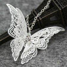 Lady Girls Silver Plated Jewelry Butterfly Pendant Necklace