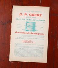 CP GOERZ  AD FROM  BRITISH JOURNAL PHOTOGRAPHIC ALMANAC CA 1910/cks/215849