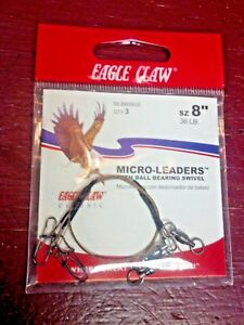 "MICRO-LEADERS W/BALL BEARING SWIVEL, (3) SIZE 8"", 36 LB. EAGLE CLAW CLASSIC"