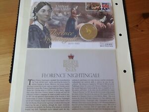 2010 B/U WITH COLOUR GUERNSEY £5 COIN COVER + COA & POSTER FLORENCE NIGHTINGALE