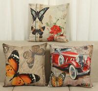 "18"" Butterfly Linen Throw Pillow Case Waist Sofa Car Cushion Cover Home Decor"