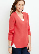 NWT $79 - J. Jill  Cotton-blend Shaker-stitch Vivid red Pullover,  XL may fit 1X