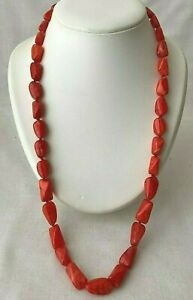 Vintage Glass Bead Necklace , Red Polished Beads Heavy 105g  Long 26 Inch