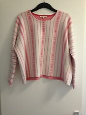 Belle femme Maje Blanc & Rose à motifs Cropped L/S Pull/Pull-Taille 2