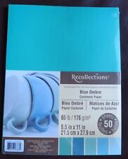 "NEW~RECOLLECTIONS~CARDSTOCK PAPER~8.5"" X 11""~BLUE OMBRE~50 SHEETS~1+ SHIP"