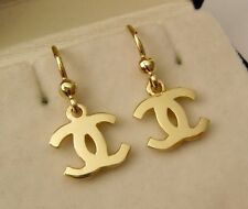 GENUINE SOLID 9ct YELLOW GOLD DOUBLE C LETTER DANGLE HOOK EARRINGS