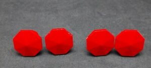 4 BAKELITE red draw knobs pull RARE MCM Mid Century