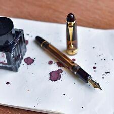 Pilot Custom 823 Amber Clear Demonstrator Fountain Pen 14k Gold Fine F Nib