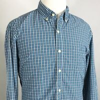 J CREW LONG SLEEVE BLUE GINGHAM CHECK BUTTON DOWN COTTON SHIRT MENS SIZE XL