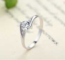 925 Sterling Silver Elegant Engagement/Wedding Ring. AAA Cubic Zirconia 13 Sizes