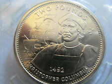 1992 GIBRALTAR £2 VIRENIUM TWO POUND COIN DISCOVERER CHRISTOPHER COLUMBUS BUNC