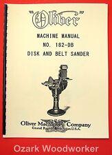 Oliver No 182 Db Disk And Belt Sander Owners Manual 1078