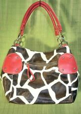 Giraffe Embossed Pattern Red Trim Large Convertible Handbag Shoppe Tote NWT $48