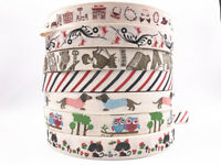 5 yards Printed Cotton Ribbon 25mm Handmade Gift Present Package DIY Sewing