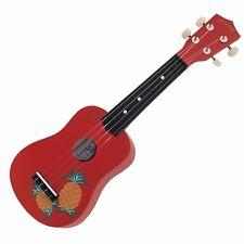 NEW Sanchez Soprano Hawaiian Pineapple Ukulele 4 String Beginner Kids Uke (Red)