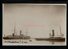 "UNLOCATED S.S. ""WHAKATANE"" TOWED BY TUG REAL PHOTO POSTCARD July 1909 - SH104"