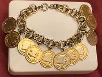 """Vintage Gold tone Double Link Dangle Coin Charm Bracelet 7"""""""