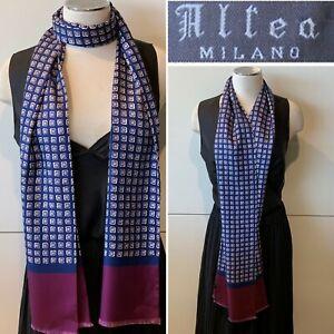 ALTEA Milano Made in Italy Silk Twill Blue & Plum Floral Long Scarf 26cm x 184cm