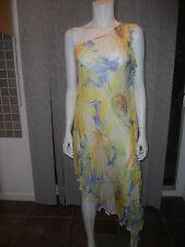 D&G Dolce Gabbana Silk Floral Print One Shoulder Ruffled Asymmetric Top Dress 42