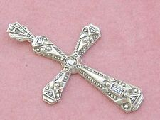 "ANTIQUE ART DECO .12ctw DIAMOND PLATINUM 18K 1-9/16"" CROSS PENDANT 1930"