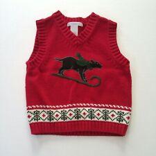 Janie and Jack Holiday Portrait Red Christmas Dog Sledding Sweater Vest 12-18 mo