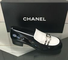 NIB AUTH CHANEL CALF PATENT LEATHER CC LOGO LOAFER FLATS SHOES SZ 38.5