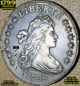 1799 DRAPED BUST SILVER DOLLAR - 7X 6 STARS (BB-155, BB-19) VERY SCARCE (R4)