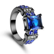 Size 6 Blue Sapphire CZ Engagement Ring Wedding Band Black Gold Rhodium Plated