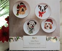 """4x Pier 1 Christmas Puppies Salad Lunch Plates Porcelain in Gift Box 8"""""""