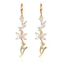 Fashion Women White Cubic Zirconia CZ Long Dangle Wedding Earrings Jewelry