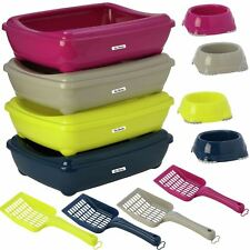 Large Cat Litter Tray or Set with Bowls + Scoop Open Plastic Box Toilet Rim