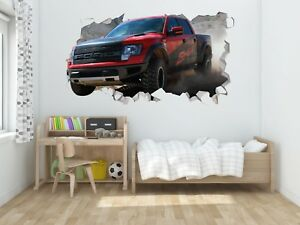Ford F150  Wall Hole 3D Decal Vinyl Sticker Decor Room Smashed Trucks #3