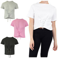 Women's Brave Soul Square Cut Lace Up Cropped T-Shirt NEW SS18 Sizes UK8-14