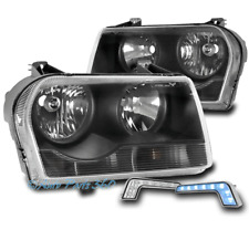 FOR 05-10 CHRYSLER 300 BLACK HEADLIGHT HEADLAMP +BUMPER BLUE LED DRL LEFT+RIGHT