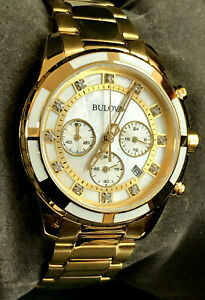 Bulova 97P146 Diamonds Chronograph Yellow Gold-Tone Ladies Quartz Watch WARRANTY