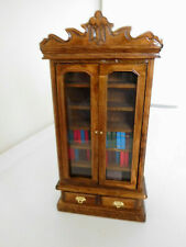 Dollhouse Miniature Wood Bookcase Shelf w/ *34 Mini Books*