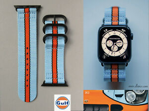 APPLE WATCH strap GULF racing BLACK - fits all series 42&44mm -