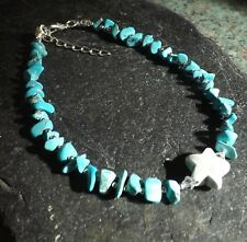 Turquoise Howlite Gemstone Anklet Starfish Bead Anklet Beach Gypsy Anklet Boho