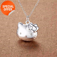 Silver Necklace Fashion Pendant Cute Hello Kitty Jewelry 925 Girl Gift