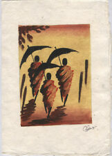 Original Ink, Oil, Gold and Water Color Painting from Luang Prabang, Laos   LP39