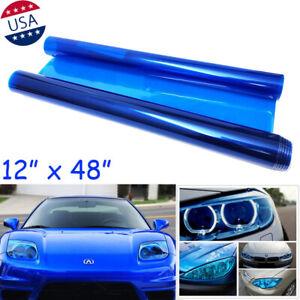 "12"" x 48"" Blue Tint Vinyl Film Overlay Wrap Sheet Headlight Fog Light Universal"