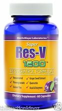 Resveratrol Super Res-V Improve Blood Flow Heart Health Anti Aging 60 Capsules