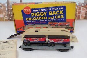 Vintage American Flyer S Gauge No.23830 Piggy Back Unloader W/ 24550 Trailer Car