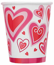 8 x Valentines Day Paper Cups Hearts of Joy party cups CHEAP PAPER PARTY CUPS